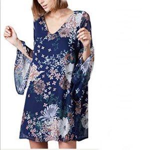 Peach Love Flower Printed Woven Long Sleeve Dress